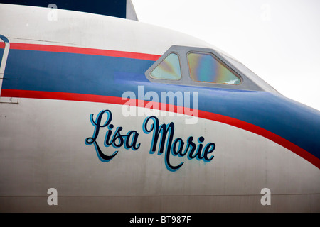 The 'Lisa Marie', Elvis Prelsey's favourite plane, a Convair 880, at Graceland, Memphis, Tennessee, USA - Stock Photo