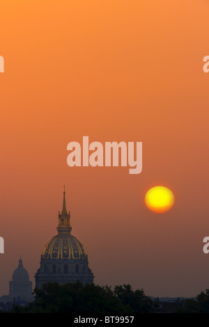 Sunrise in Paris view from the Trocadero on Les Invalides - Stock Photo