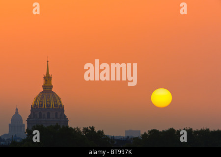 Sunrise in Paris with view from the Trocadero on Les Invalides - Stock Photo