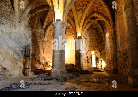Old prison of Chillon Castle on Lake Geneva, Veytaux, Montreux, Switzerland, Europe - Stock Photo