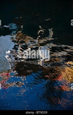 Metal surface reflections on water - Stock Photo