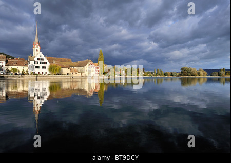 View of the shore of the Rhine river with the historic old town of Stein am Rhein, Canton Schaffhausen, Switzerland, - Stock Photo