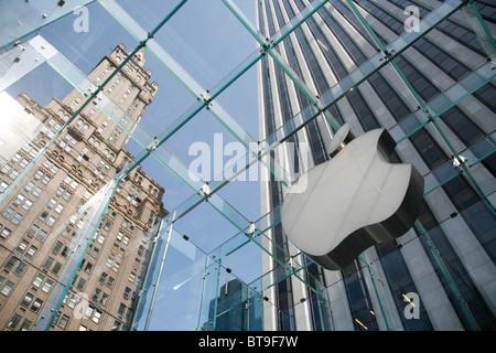 Apple Store in Manhattan on 5th Avenue, New York, USA - Stock Photo