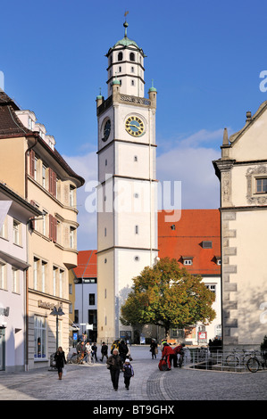 The Blaserturm tower in the historic old town of Ravensburg, Ravensburg county, Baden-Wuerttemberg, Germany, Europe - Stock Photo