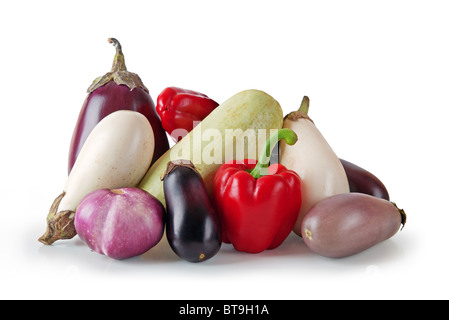 Assorted vegetables on white background - Stock Photo