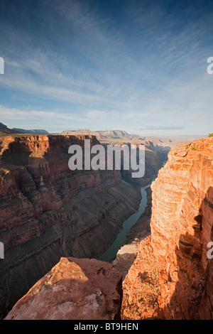 Grand Canyon and Colorado River seen from Toroweap Point, Tuweep Area, North Rim, Arizona, USA - Stock Photo
