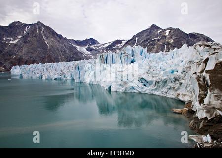 Knud Rasmussen Glacier, Sermiligâq Fjord, Ammassalik District, East Greenland, Greenland, Denmark - Stock Photo