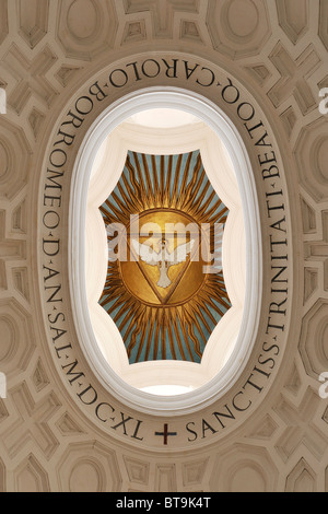 Rome. Italy. Church of San Carlo alle Quattro Fontane. The symbol of the Holy Trinity in the apex of the dome. - Stock Photo