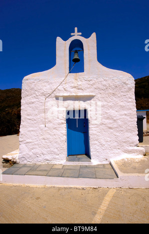One of the 365 traditional white Orthodox chaples on Ios, Cylades Islands, Greece - Stock Photo