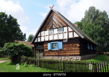 Corner of a traditional old polish wooden country house with fence stock photo royalty free - Traditional polish houses wood mastership ...