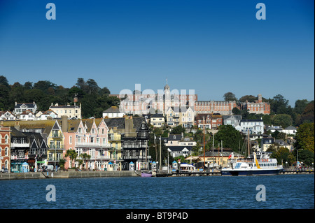 Dartmouth Devon Uk with Naval College at top - Stock Photo
