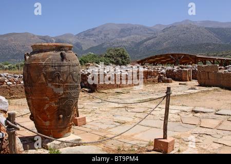 Clay jugs and jars, Malia Palace, Minoan excavations, archaeological excavation site, Heraklion, Crete, Greece, - Stock Photo