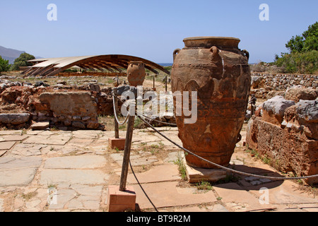 Clay jugs and jars, Malia Palace, Minoan excavations, archaeological excavation site, Heraklion, Crete, Greece, - Stock Photo
