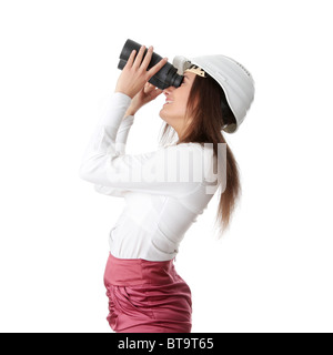 Business vision concept, enginer woman looking throught binoculars, isolated on white