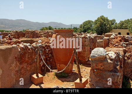 Clay container, Malia Palace, archaeological excavation site, Minoan Palace, Heraklion, Crete, Greece, Europe - Stock Photo