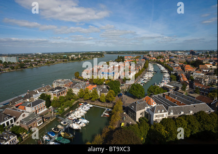 View of the city and the Maas, Dordrecht, South Holland, Holland, Netherlands, Europe - Stock Photo