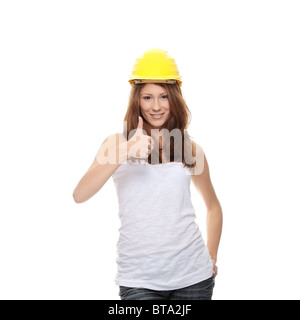 Engineer woman in yellow helmet isolated on white background - Stock Photo