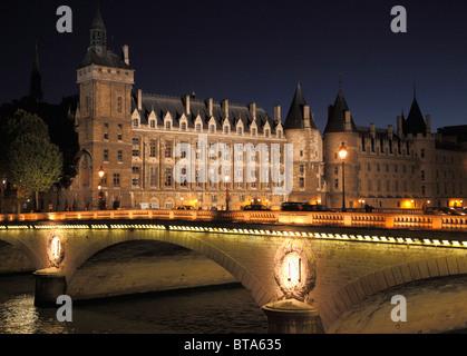 France, Paris, La Conciergerie, Pont au Change bridge, Seine River, - Stock Photo