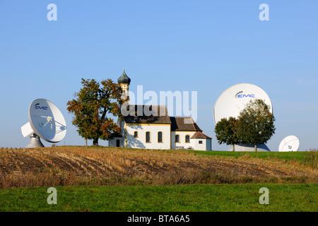 Earth station, parabolic aerial, pilgrimage church St. Johannes, Raisting, Bavaria, Germany, Europe - Stock Photo