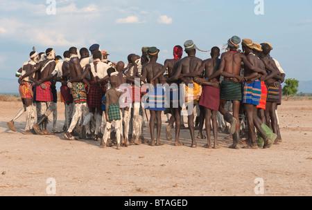 Nyangatom (Bumi) tribal dance ceremony, Omo river Valley, Ethiopia - Stock Photo