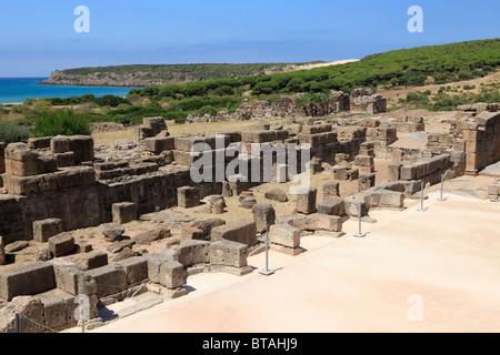 The Western wall of the Roman site Baelo Claudia (2nd century BC through 6th century AD) on the Costa de la Luz - Stock Photo