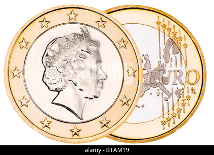 Composite 'British Euro' with queens head on Euro reverse - Stock Photo