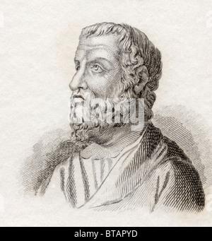 Isocrates, 436 to 338 BC. Ancient Greek rhetorician, one of the ten Attic orators. - Stock Photo