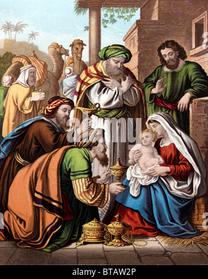 Painting Of The Nativity Three Wise Men Bearing Gifts For Baby Jesus - Stock Photo