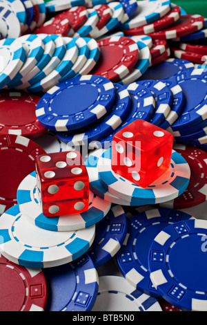 Dice and poker chips - Stock Photo