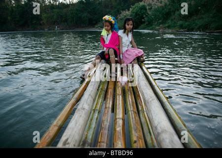 river between thailand and burma - Stock Photo