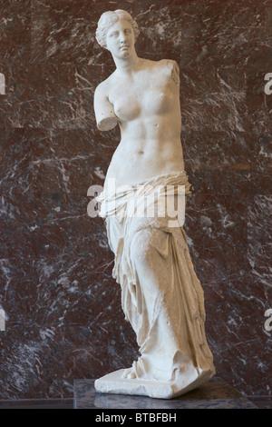 Venus de Milo or Aphrodite of Milos Statue Louvre Museum Paris, front view - Stock Photo