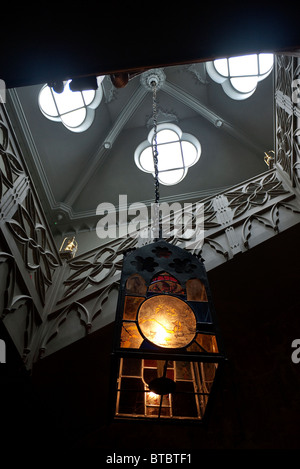 Lamp fitting in the main staircase at Strawberry Hill House Twickenham London UK - Stock Photo