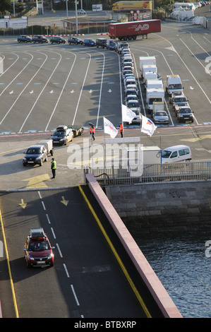 St Malo western France cross channel port a car using the linkspan to board a roro ferry - Stock Photo