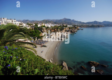 View of the beach, Nerja, Costa del Sol, Malaga Province, Andalucia, Spain, Western Europe. - Stock Photo