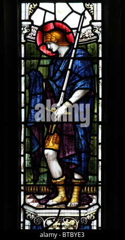 A stained glass window depicting Saint Martin of Tours, Parish Church of St Mary, Luxborough, Somerset - Stock Photo