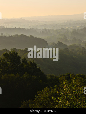 A summer sunrise over the north downs in the Surrey Hills - Stock Photo