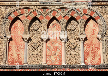 Medieval Islamic architecture on the facade of the Moque-Cathedral of Cordoba, Spain - Stock Photo