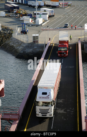 St Malo western France cross channel port lorries using the linkspan to board a ferry - Stock Photo