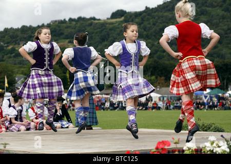 Scottish Highland Dance, Glenurquhart Highland Gathering and Games, Blairbeg Park, Drumnadrochit, Scotland - Stock Photo