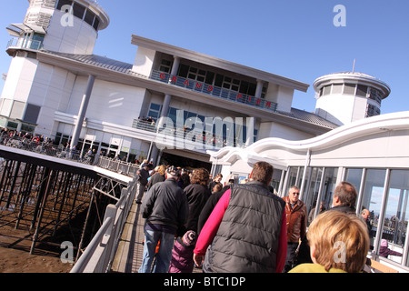 Grand Pier Weston Super Mare - rebuilt and reopened October 2010 busy first weekend of the newly restored seaside - Stock Photo