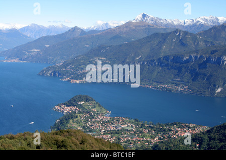 view of Lake Como from Monte Nuvolone above Bellagio - Stock Photo