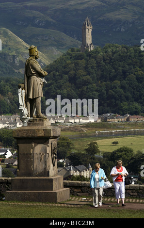 Robert the Bruce Statue & The National Wallace Monument, Stirling Castle, Stirling, Scotland - Stock Photo