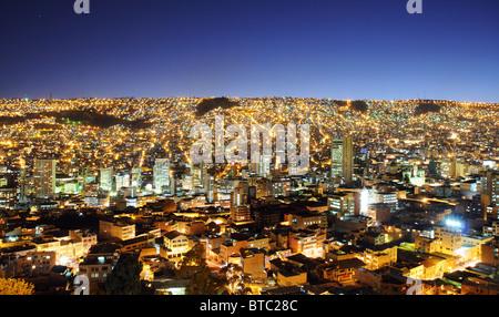 A view over La Paz in Bolivia from the Killi Killi viewpoint - Stock Photo