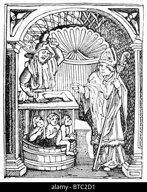 The Legend of Saint Nicholas, reviving the three children drowned in a vat; Black and White Illustration - Stock Photo