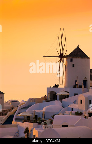 Oia Santorini Cyclades Islands Greece in evening light - Stock Photo