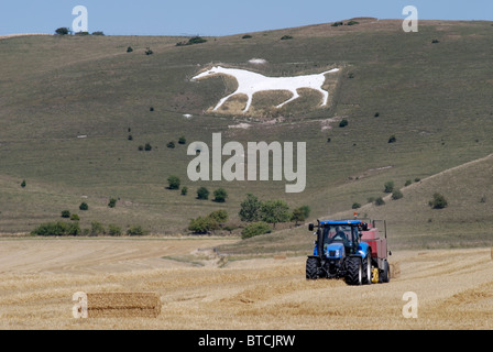 Tractor baling hay in field under White horse carved from chalk hillside. Pewsey Downs at Alton near Avebury. Wiltshire. - Stock Photo