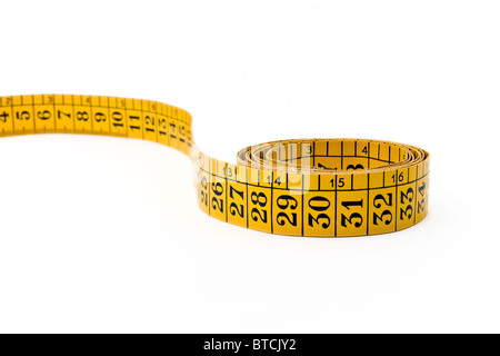 Measuring tape isolated on white background - Stock Photo