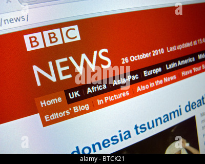 Screenshot from homepage of BBC television News channel website - Stock Photo