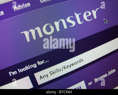 Detail of screenshot from recruitment and jobs Monster  internet website homepage - Stock Photo