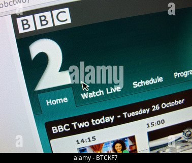 Screenshot from homepage of BBC television channel Two website - Stock Photo